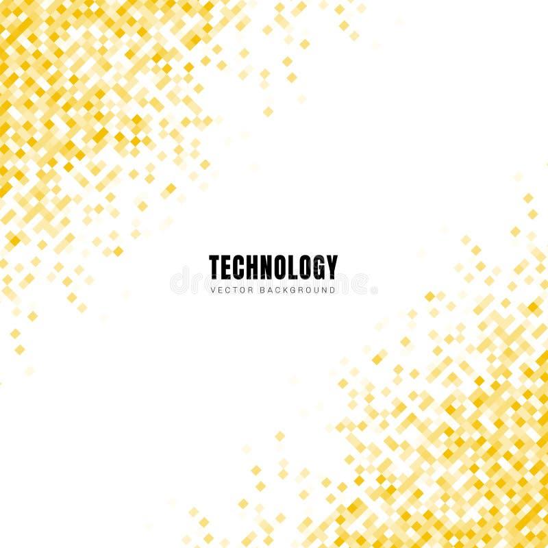 Teste padrão amarelo geométrico diagonal dos quadrados do sumário no fundo branco e textura com espaço para o texto Estilo da tec ilustração stock