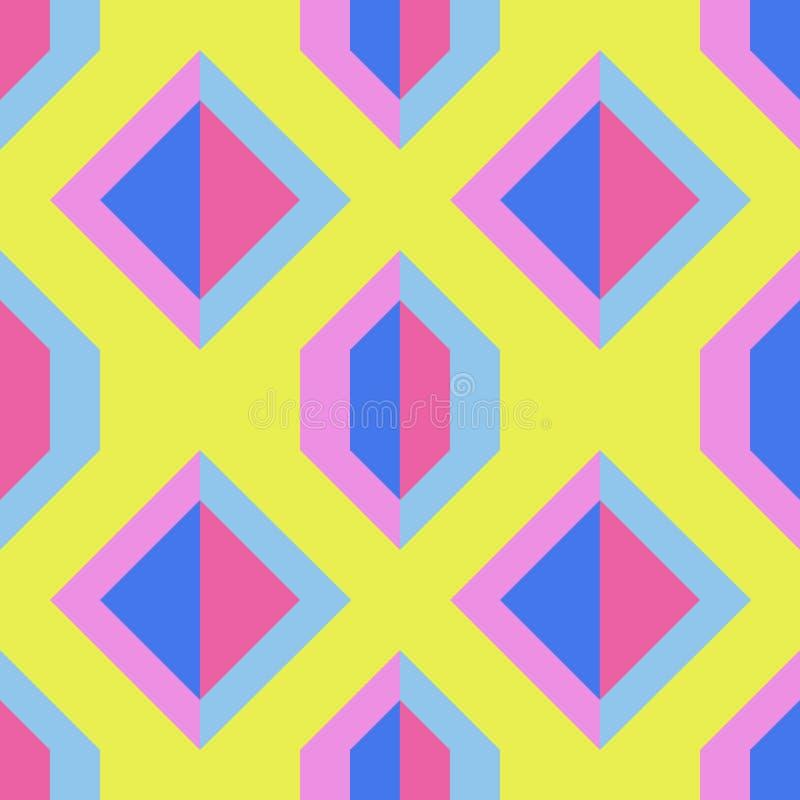 Teste padrão amarelo sem emenda com formas geométricas azuis e cor-de-rosa imagem de stock royalty free