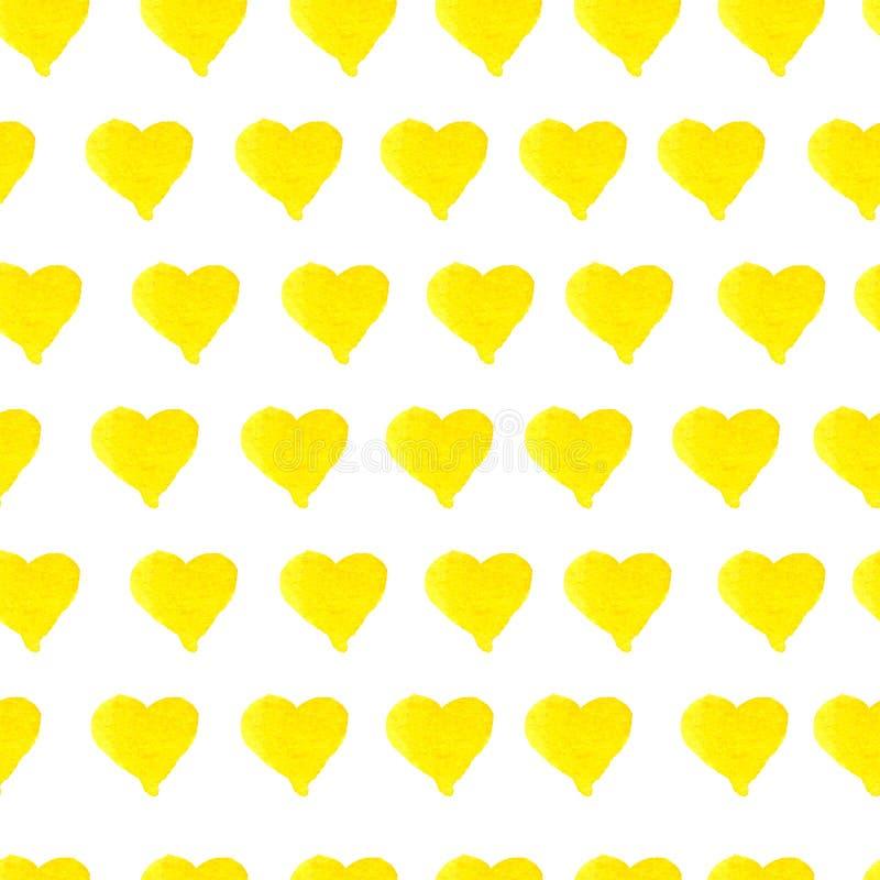 Teste padrão amarelo sem emenda tirado mão dos corações da aquarela ilustração royalty free