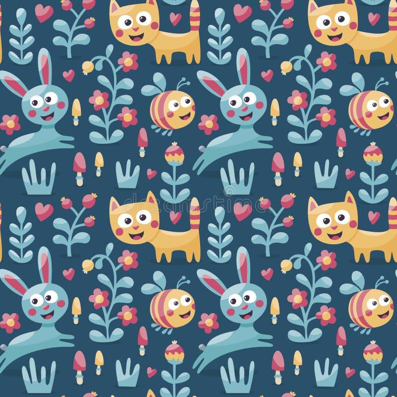 Teste padrão animal bonito sem emenda feito com gato, lebre, coelho, abelha, flor, planta, folha, baga, coração, amigo, floral, n ilustração do vetor