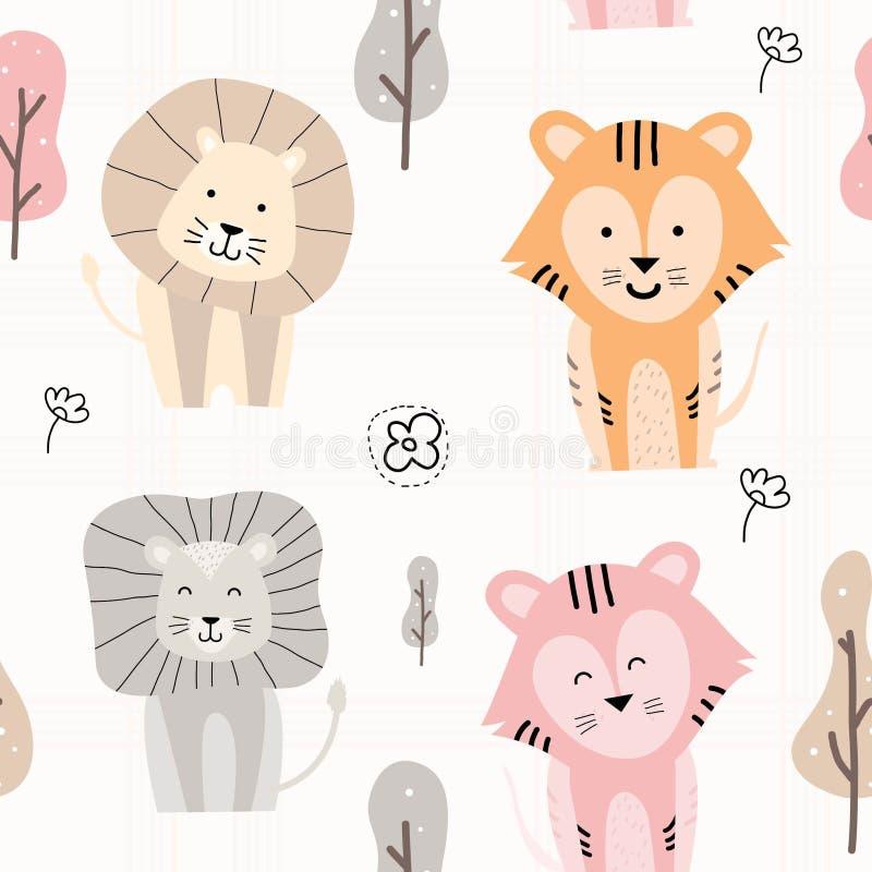 Teste padrão animal bonito tirado mão ilustração stock
