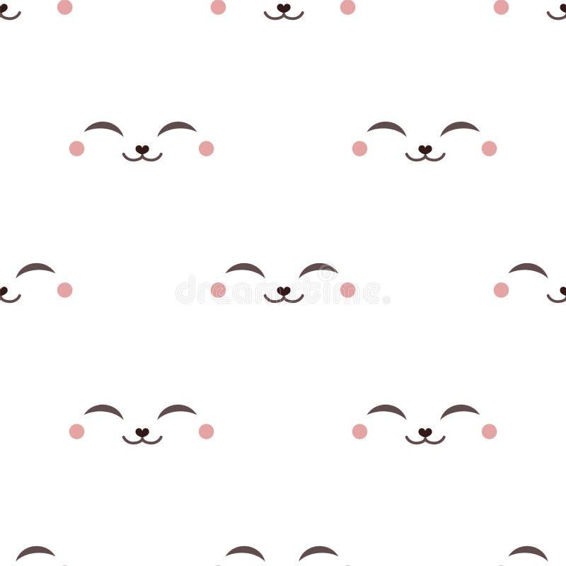Teste padrão animal feliz da cara ilustração stock