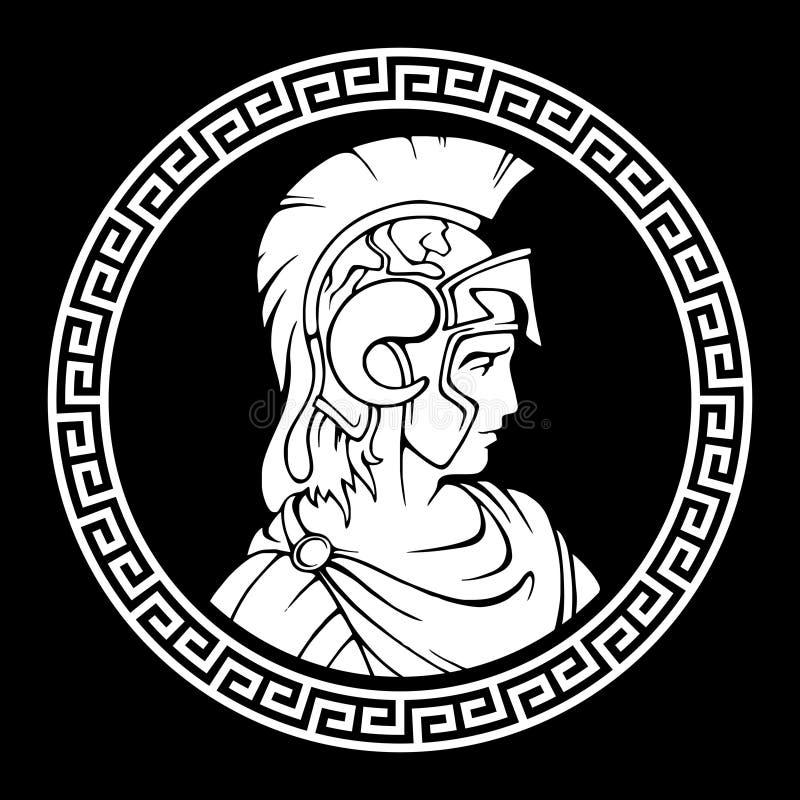 Teste padrão antigo redondo grego Alexander o grande macedônio ilustração royalty free