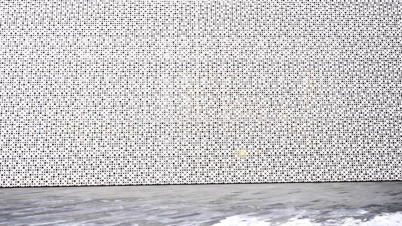 Teste padrão arquitectónico abstrato Parede futurista Parede arquitetónica feita no estilo futurista em exterior imagem de stock