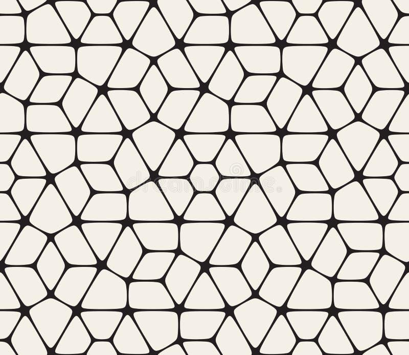 Teste padrão arredondado preto e branco sem emenda do laço do vetor ilustração do vetor