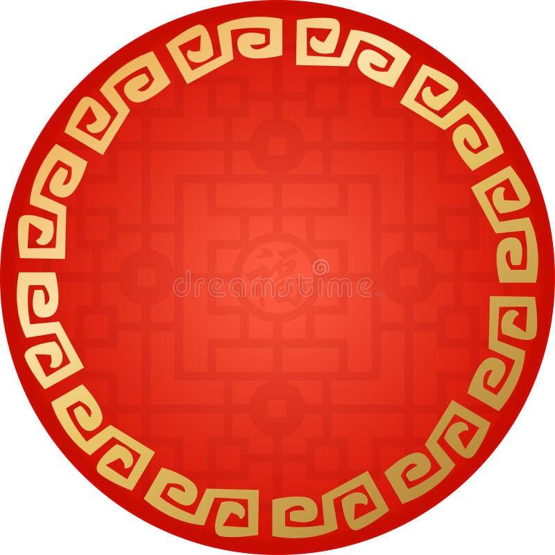 Teste padrão arredondado tradicional chinês, o quadro do Grande Muralha, fortuna ilustração stock