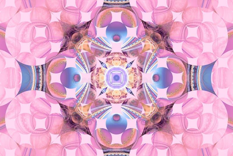 Teste padrão artística do inseto da tampa do fundo da arte geométrica fraktal roxa cor-de-rosa do papel de parede do teste padrão ilustração stock