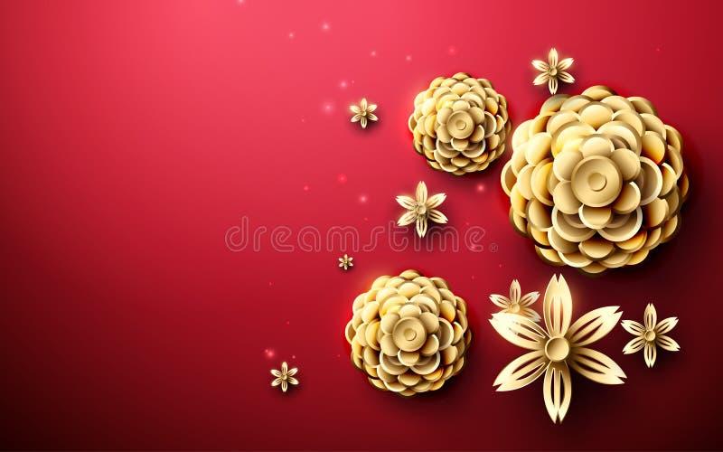 Teste padrão asiático das flores abstratas do ouro no fundo vermelho vetor da ilustração ilustração do vetor