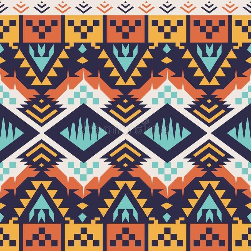 Teste padrão asteca sem emenda do vetor para o projeto de matéria têxtil Estilo tribal ilustração royalty free