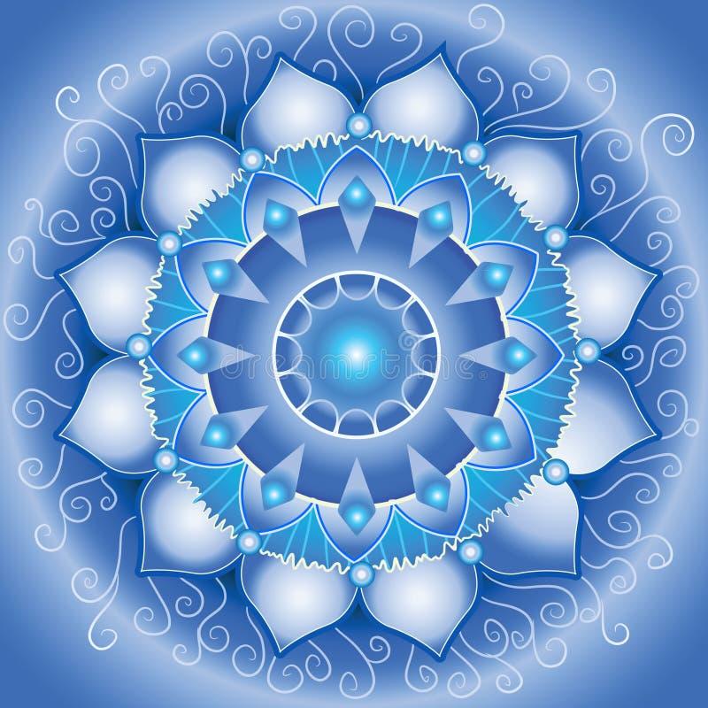 Teste padrão azul abstrato, mandala ilustração royalty free