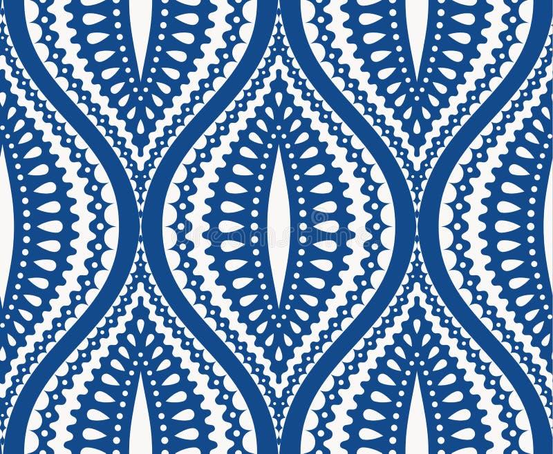 Teste padrão azul branco de Ogee ilustração stock