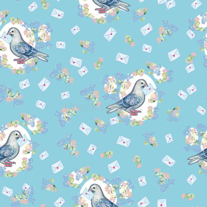 Teste padrão azul com pomba e envelope ilustração stock