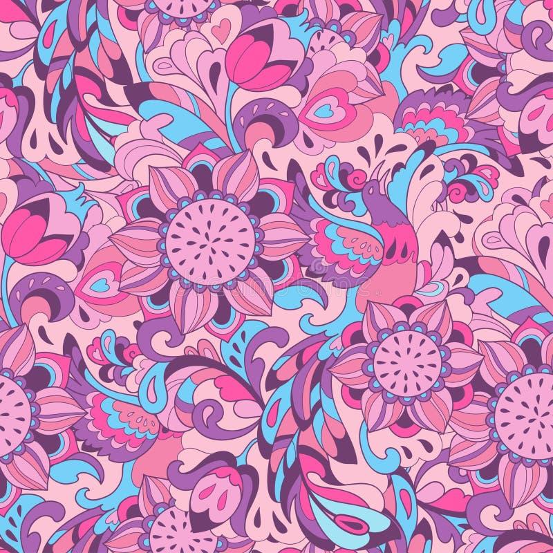 Teste padrão azul cor-de-rosa com pássaro Phoenix e girassol ilustração stock