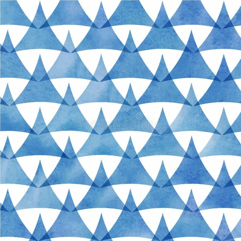 Teste padrão azul da aquarela do triângulo ilustração do vetor