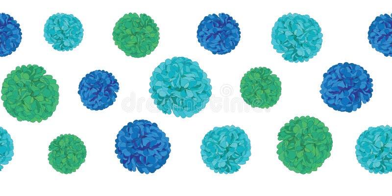 Teste padrão azul da beira da repetição de Pom Poms Set Horizontal Seamless do papel da festa de anos do vetor Grande para cartõe ilustração royalty free