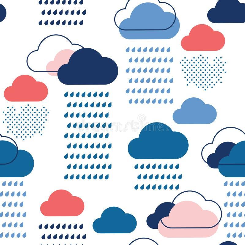 Teste padrão azul da chuva ilustração royalty free
