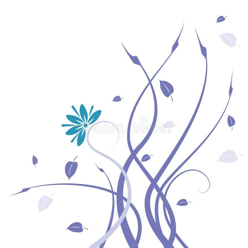 Teste padrão azul da flor selvagem e das videiras ilustração do vetor