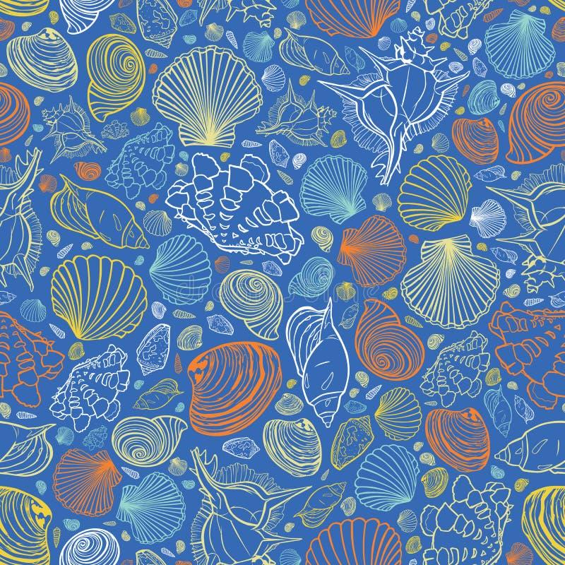 Teste padrão azul da repetição do vetor com variedade de conchas do mar coloridas Aperfeiçoe para cumprimentos, convites, papel d ilustração stock
