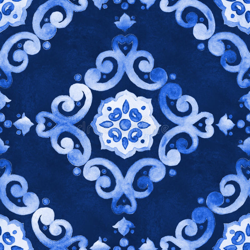Teste padrão azul da veludinha da aquarela foto de stock royalty free