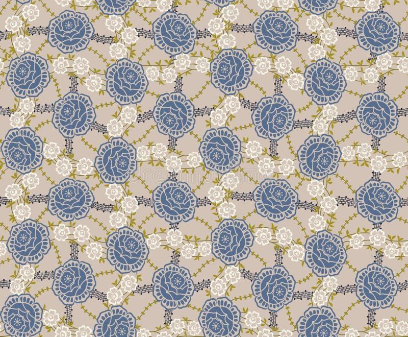 Teste padrão azul das rosas ilustração do vetor