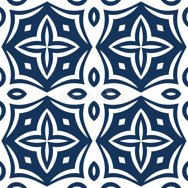 Teste padrão azul do Arabesque ilustração stock