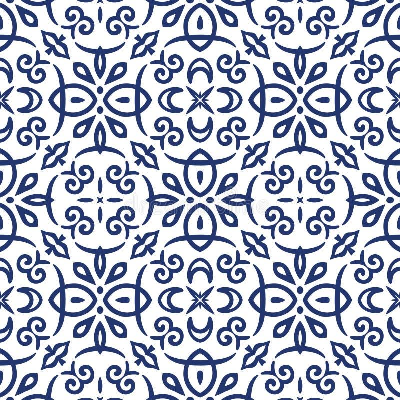Teste padrão azul do Arabesque ilustração do vetor