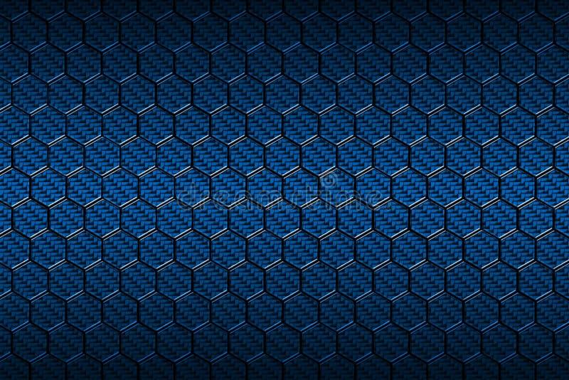 Teste padrão azul do hexágono da fibra do carbono ilustração do vetor