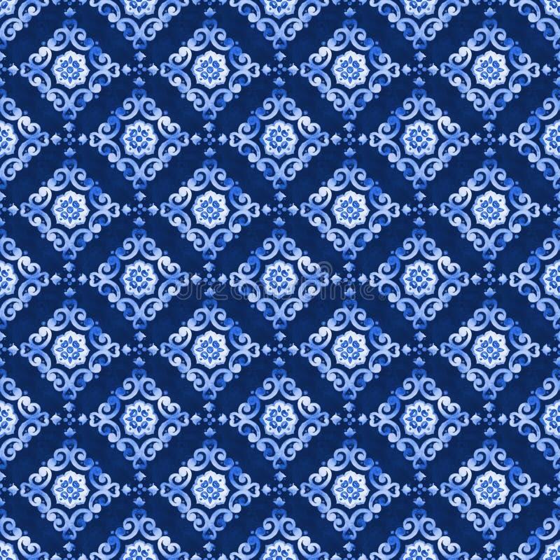 Teste padrão azul do laço da aquarela imagem de stock royalty free