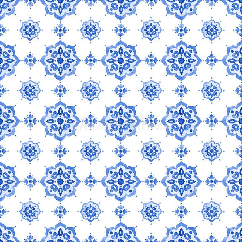 Teste padrão azul do laço da aquarela fotos de stock