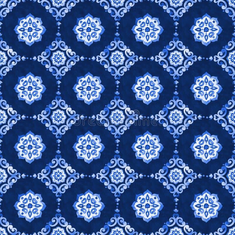 Teste padrão azul do laço da aquarela fotografia de stock royalty free