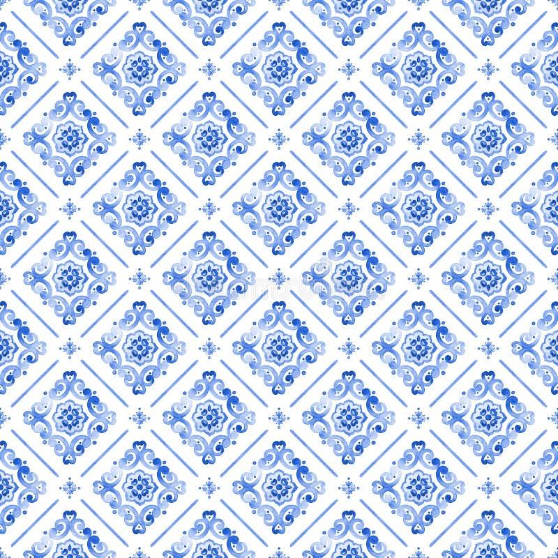 Teste padrão azul do laço da aquarela fotografia de stock