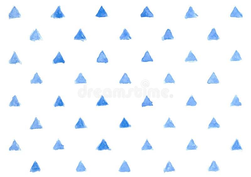 Teste padrão azul do triângulo da aquarela no fundo branco, geométrico ilustração royalty free