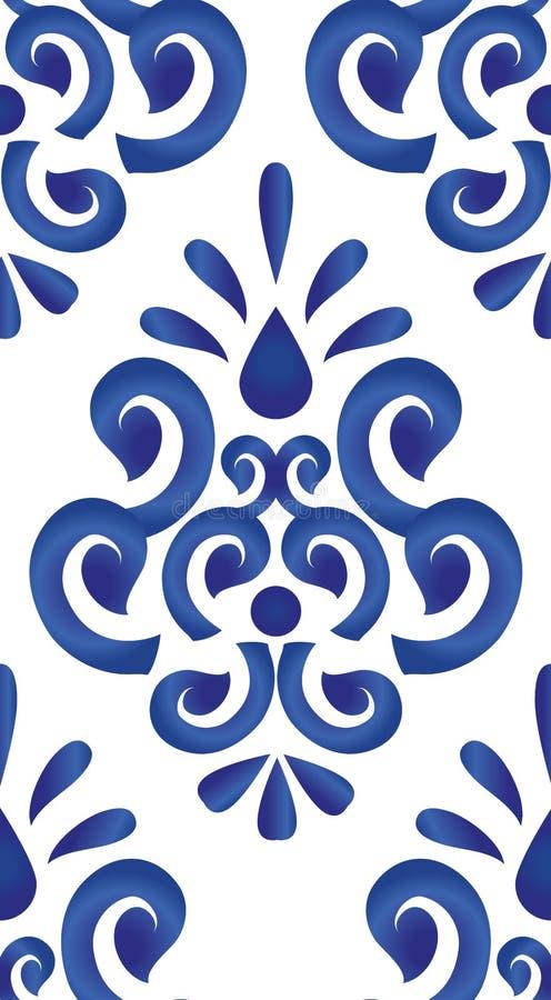 Teste padrão azul e branco ilustração do vetor