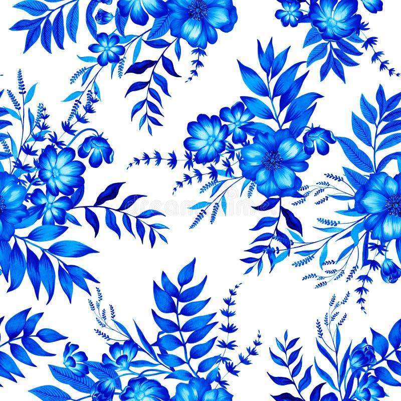 Teste padrão azul e branco com flores ilustração royalty free