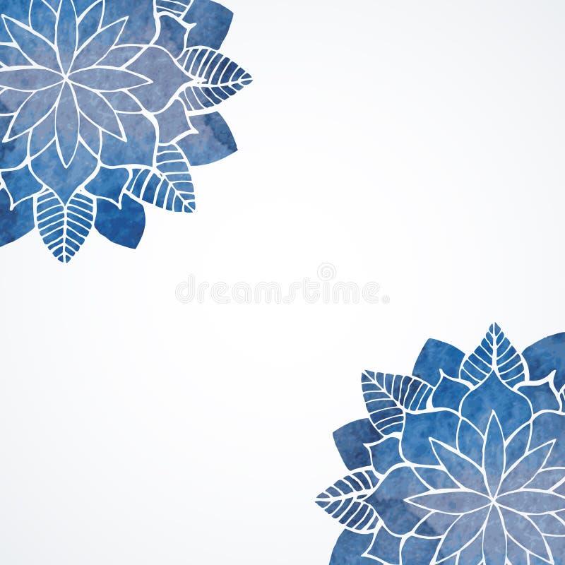 Teste padrão azul floral da aquarela ilustração stock