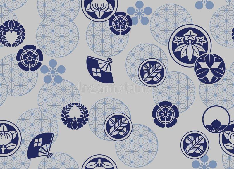 Teste padrão azul japonês da crista ilustração royalty free