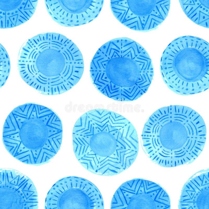 Teste padrão azul rústico dos círculos da aquarela foto de stock royalty free