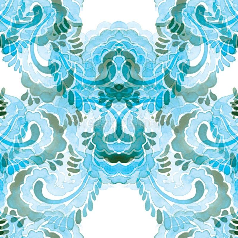 Teste padrão azul sem emenda da aquarela de elementos da garatuja ilustração do vetor