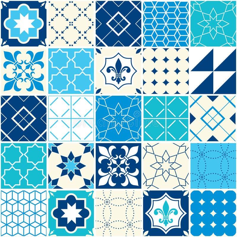 Teste padrão azul sem emenda da telha do vetor, telhas de Azulejos, geométrico português e design floral - coloridos ilustração do vetor