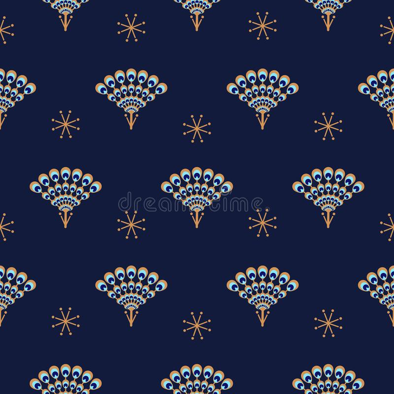 Teste padrão azul sem emenda do vetor do fã do pavão ilustração stock