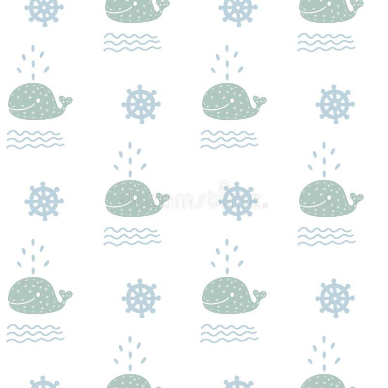 Teste padrão azul tirado do berçário do mar do oceano mão escandinava sem emenda com ondas e o mar animal do wale Textura crianço ilustração royalty free