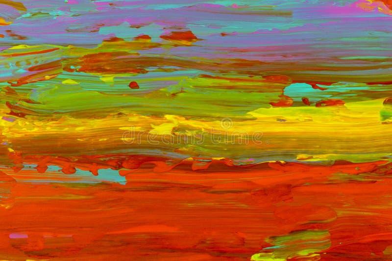 Teste padrão azul verde amarelo vermelho do fundo da mancha das cores do horizonte do céu fotografia de stock royalty free