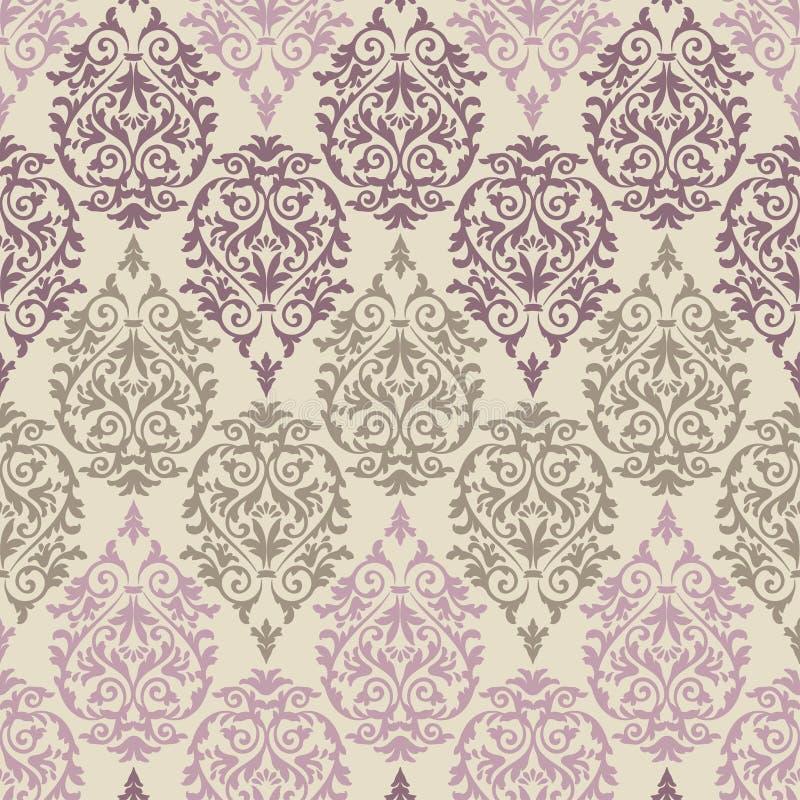Teste padrão barroco roxo, marrom e cor-de-rosa ilustração stock