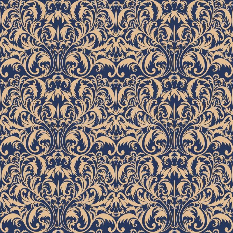 Teste padrão barroco sem emenda Teste padrão dourado Fundo do vintage para o convite, telas Ilustração do vetor ilustração do vetor