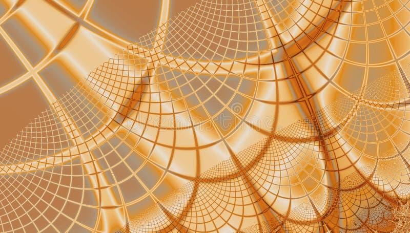 Teste padrão bege dourado dos gráficos do fundo da Web do fractal da aranha em cores de brilho ilustração do vetor