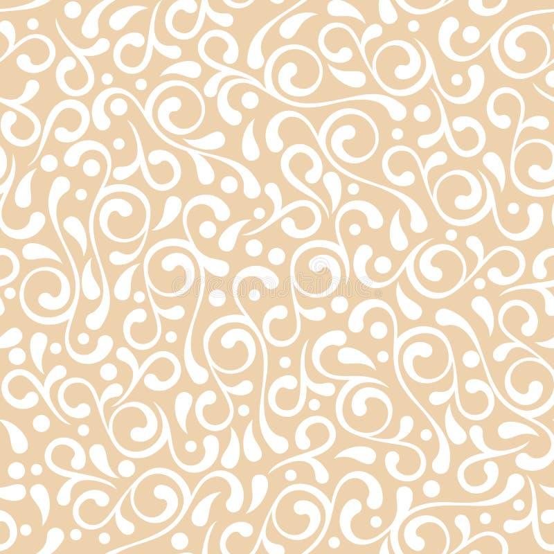 Teste padrão bege pastel sem emenda do flourish do vetor ilustração stock