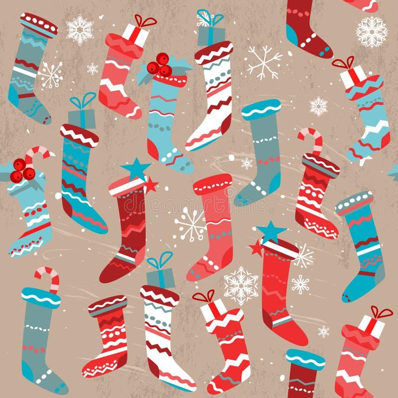 Teste padrão bege sem emenda do vintage com elementos tradicionais do Natal ilustração do vetor