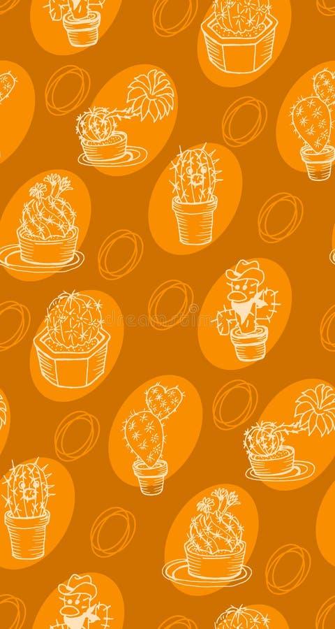 Teste padrão bonito, cópia, cacto, desenho a mão livre, orangotango imagens de stock