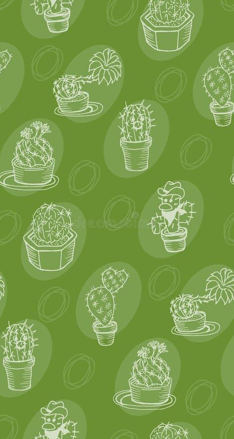 Teste padrão bonito, cópia, cacto, verde do desenho a mão livre foto de stock royalty free