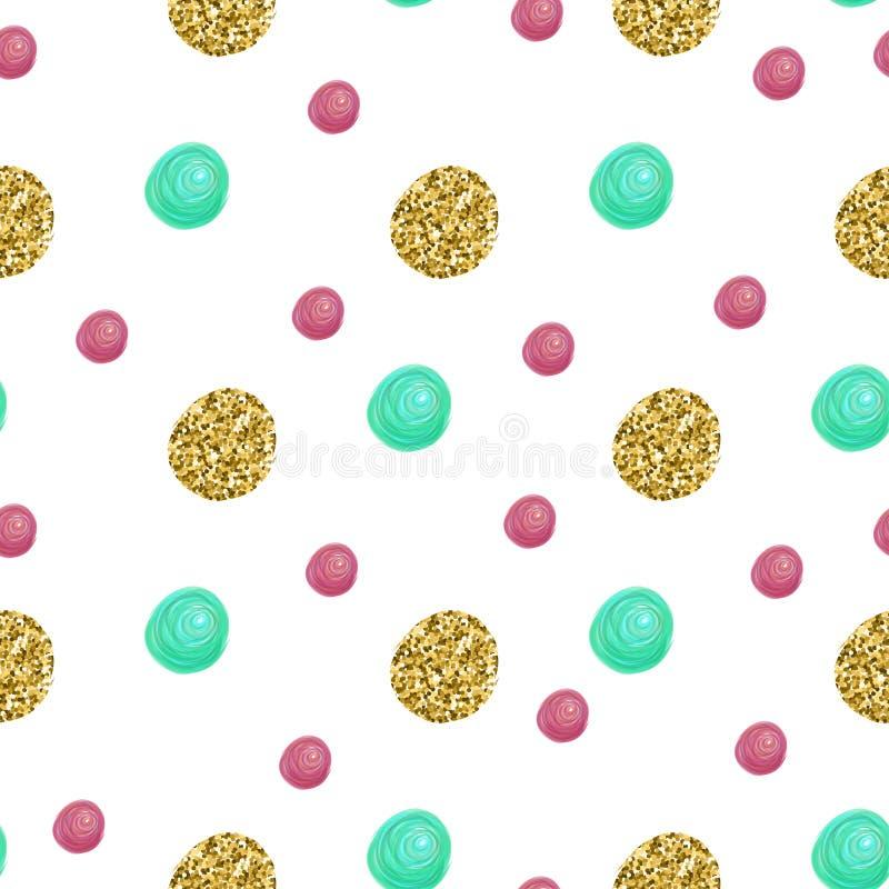 Teste padrão bonito com brilho dos confetes do ouro Aperfeiçoe para o dia de Valentim, aniversário, salvar o convite da data Veto ilustração do vetor